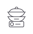 double boiler line icon sign vector image