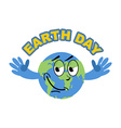 Earth Day Cheerful Globe spread his arms in an vector image
