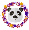 panda and leafy wreath separated vector image