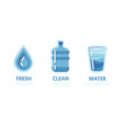 paper cut out logo template set with clean water vector image