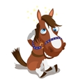 Shell-shocked brown horse on a white background vector image