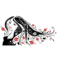 Woman with flowers in her hair vector image