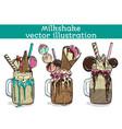set of different milkshakes chocolate strawberry vector image