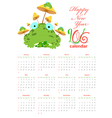 Calendar with frogs and mushrooms 2016 vector image