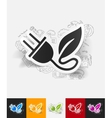 eco plug leaf paper sticker with hand drawn vector image