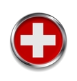 Abstract button with metallic frame Swiss flag vector image