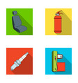 chair with headrest fire extinguisher car candle vector image