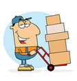 Delivery Guy Using A Dolly To Move Boxes vector image