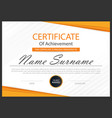 orange elegance horizontal certificate vector image