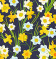 retro seamless texture with blossom of daffodils vector image