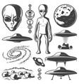 vintage monochrome ufo elements set vector image