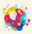 Human head on abstract colorful spotted background vector image