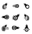 black Racing labels icon set vector image