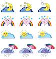 Kwaii weather icons vector image