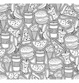 monochrome wallpaper with food and drinks vector image