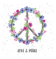 Peace Hippie Symbol with Flower on the white vector image