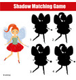 shadow matching game kids activity with beautiful vector image