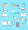 html coder icons set vector image