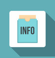 Blue info folder icon flat style vector image