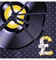Broken record and pound on metallic diamond plate vector image vector image