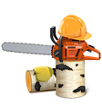 Chainsaw with Helmet and Birch Firewood vector image