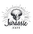 Jurassic cafe logo template Dinosaur vegetarean vector image