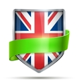 Shield with flag Great Briatain and ribbon vector image