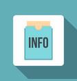 Blue info folder icon flat style vector image