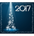 Christmas card with fir tree in 2017 vector image