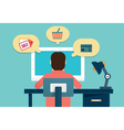 Flat concept of process e-marketing and e-commerce vector image