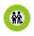 circular frame pictogram with couple vector image