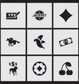 set of 9 editable gambling icons includes symbols vector image