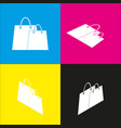 shopping bags sign  white icon with vector image