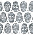 Vintage ethnic hand drawn human skull seamless vector image