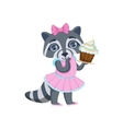 Girl Raccoon With Cupcake vector image