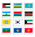 A Collection of National Flags on Metal Texture vector image