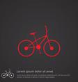 bike outline symbol red on dark background logo vector image