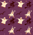 halloween seamless pattern bat witch on broom vector image