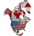 map of north america with countries vector image