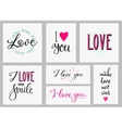Romantic love inspiration lettering set vector image