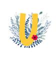 floral alphabet letter u vector image