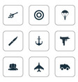 set of simple war icons vector image