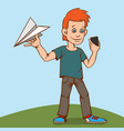 the child was playing with a paper airplane but vector image