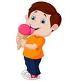 Cute boy cartoon licking ice cream vector image
