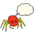 cartoon spooky halloween skull spider with thought vector image