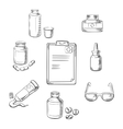 Prescription and medical sketch icons vector image vector image