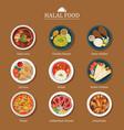 set of halal food flat design vector image
