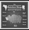 Beef cuts diagram Butcher shop background vector image