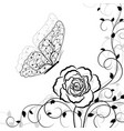 black floral pattern and butterfly on white vector image