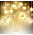 Christmas background with luminous garland with vector image